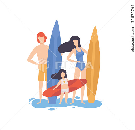 Mom, Dad and Daughter Standing with Surfboards on Beach, Happy Family Enjoying Summer Vacation on 53673791
