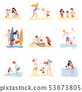 Parents and Their Children Playing, Swimming and Having Fun on Beach, Happy Family Enjoying Summer 53673805
