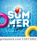 Summer Time Illustration with Float and Beach Ball on Water in the Tiled Pool Background. Vector 53673902