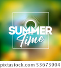 It's Summer Time Illustration with Typography Letter on Blurred Beach Background. Vector Holiday 53673904