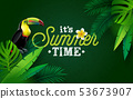 It's Summer Time Illustration with Flower and Toucan Bird on Green Background. Vector Tropical 53673907