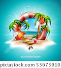 Vector Summer Holiday Illustration with Lifebelt and Exotic Palm Trees on Tropical Island Background 53673910