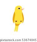 Little Canary Bird, Cute Yellow Budgie Home Pet Vector Illustration 53674045