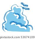 우뚝 솟은 뭉게 구름과 갈매기 일러스트 53674109