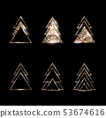 A set of geometric Christmas trees. Gold Glitter. 53674616