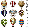 Set of Hot Air Balloons. Vector retro flying airships with decorative elements. Template transport 53674811