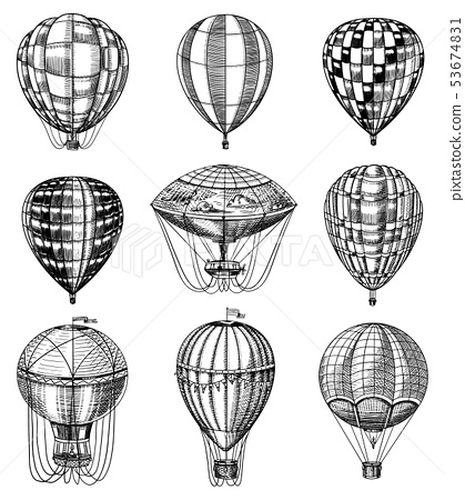 Set of Hot Air Balloons. Vector retro flying airships with decorative elements. Template transport 53674831