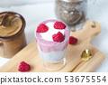 Chia pudding with almond milk, yogurt 53675554