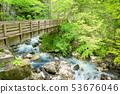 """白骨温泉的绝景景点新鲜的绿色""""水淹山""""观景台的桥 53676046"""