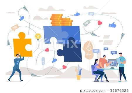 Teamwork on Marketing Strategy Flat Vector Concept 53676322