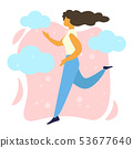 Young Happy Woman Running, Girl Jogging Exercise 53677640