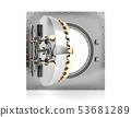 Opened bank vault door with empty white background 53681289