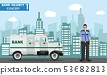 Bank security concept. Detailed illustration of armored car and security guard on background with 53682813