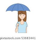 양산을 쓰고있는 여성의 일러스트 53683441
