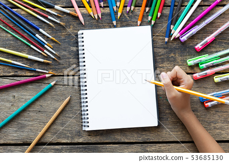 Girl hand drawing, blank paper and colorful 53685130