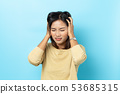 asian young woman having headache on white 53685315