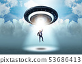 Flying saucer abducting young businessman  53686413