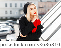 Portrait of a beautiful young blond woman 53686810
