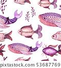 Fish watercolor pattern 53687769