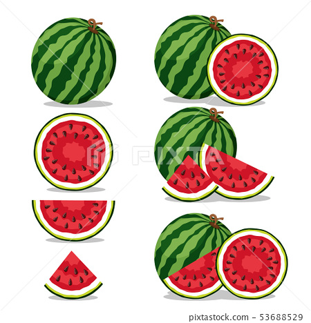 Set of watermelons, half and piece on a white. 53688529