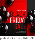Black friday sale banner with glossy balloon on 53688791