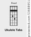 Ukulele chords A sus2 53688951