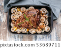 Marinated lamb with mushrooms, spices and herbs 53689711