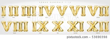Roman numerals 1-12 by golden foil balloons 53690398