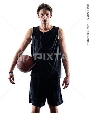 basketball player man isolated silhouette shadow 53691496