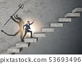 Businessman with alter ego climbing career ladder 53693496