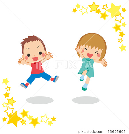 Kids pair jump out well [star frame] 53695605