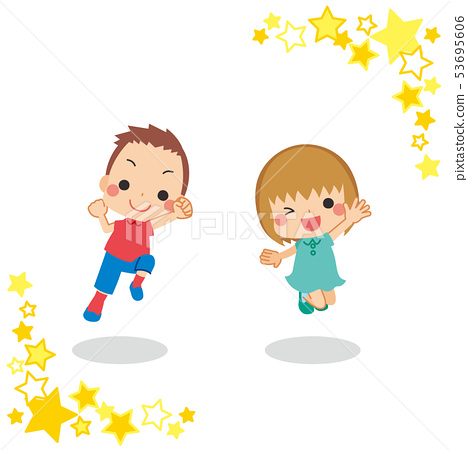 Kids pair jump out well [star frame] 53695606