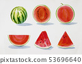 Painting summer watermelon collection, isolated. 53696640