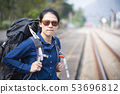 Unhappy or angry backpacker asian woman in casual 53696812