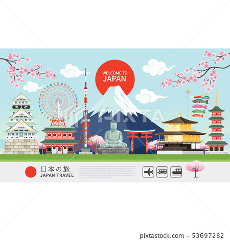 Japan famous landmarks travel banner 53697282