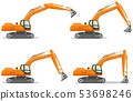Excavator with different boom position. Detailed illustration of heavy mining machine and 53698246