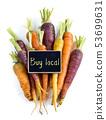 Fresh organic rainbow carrots 53699631