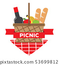 Picnic basket wit a wine bottle, fruits and bread 53699812