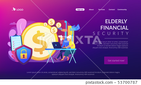 Elderly financial security concept landing page 53700787