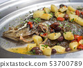 Baked flounder fish with potatoes, olives and 53700789