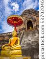 Gold Buddha, Wat Chedi Luang temple big Stupa, 53702046