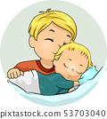 Kid Boy Kiss Baby Sibling Illustration 53703040