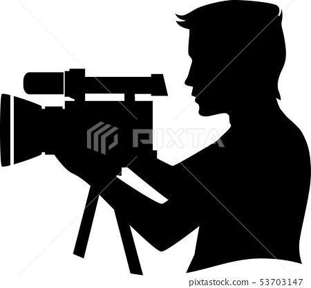 Silhouette Man Video Camera Illustration 53703147