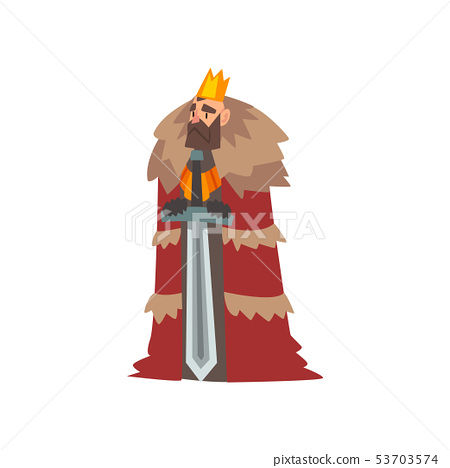 Majestic King In Red Mantle And Golden Crown Stock Illustration 53703574 Pixta This is a medival crown used by a monarch in his daily duties including battles, so i decide to put a story in this asset to make this prety generic crown more interisting. pixta