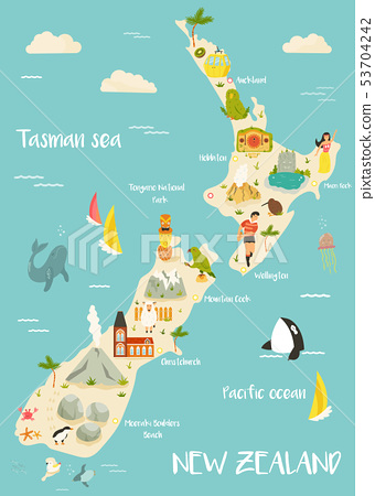 New Zealand illustrated map with bright icons 53704242