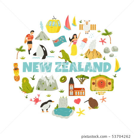 New Zealand abstract design with national symbols 53704262