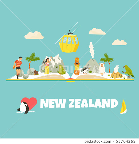 New Zealand vector poster with symbols, landmarks 53704265