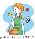 主婦購物手寫的插圖 53704271