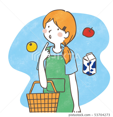 Housewife shopping Handwritten illustration 53704273