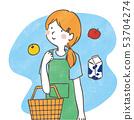 主婦購物手寫的插圖 53704274